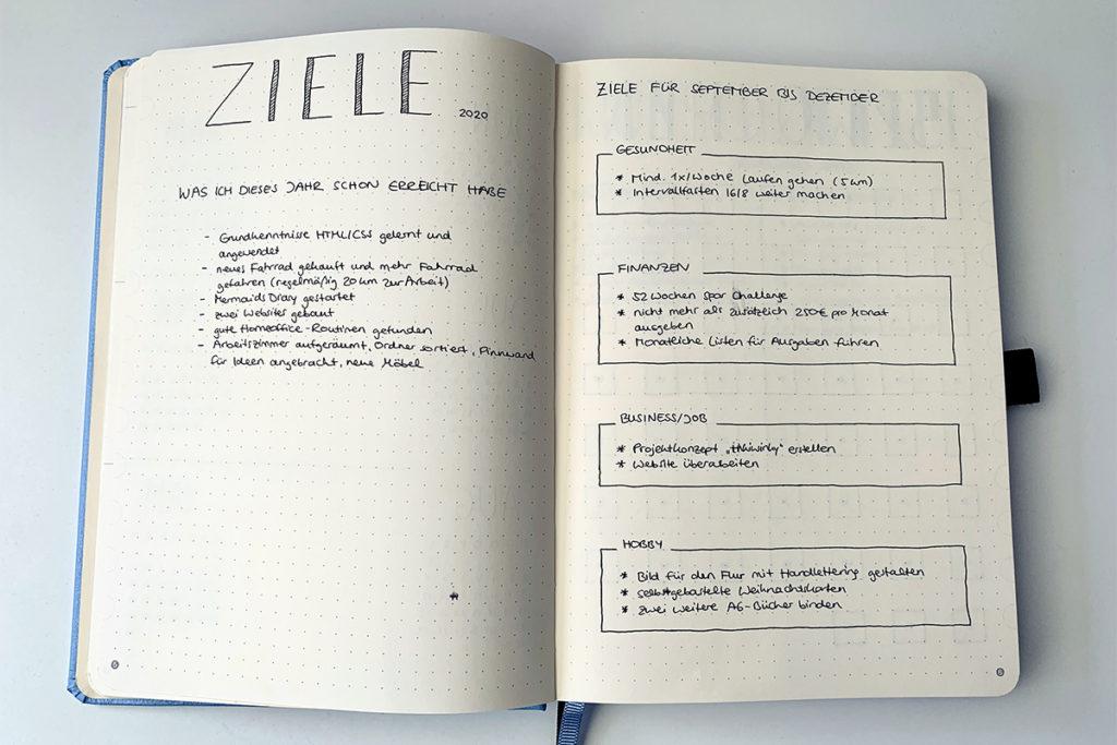 Ziele bullet journal