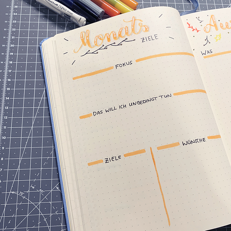 oktober bullet journal setup 2020 monatsziele