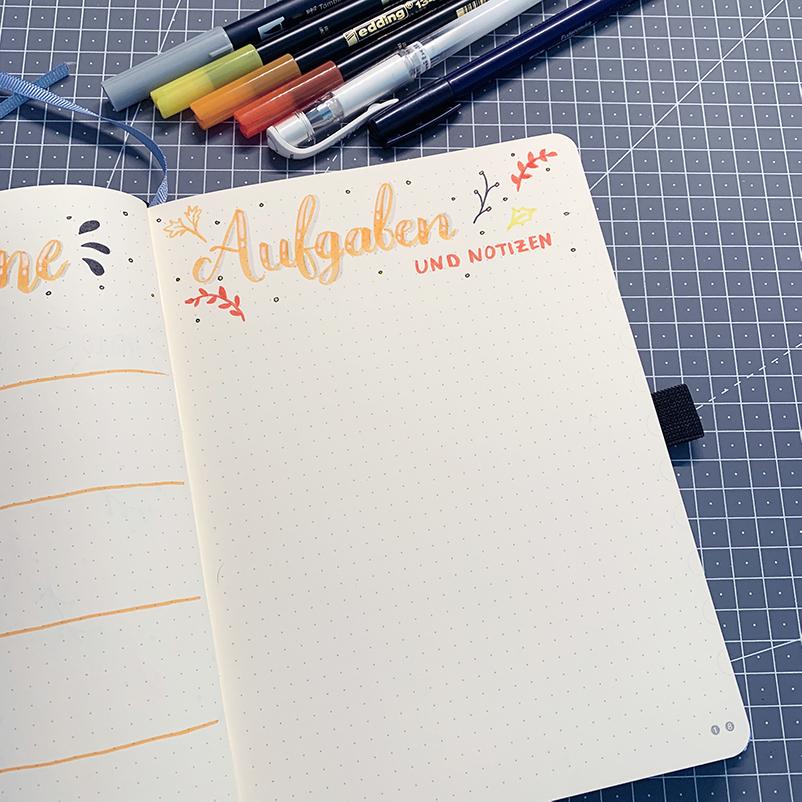 oktober bullet journal setup 2020 monthly log aufgaben