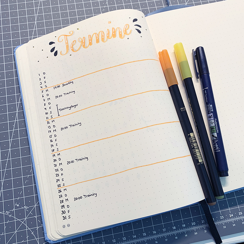 oktober bullet journal setup 2020 monthly log termine