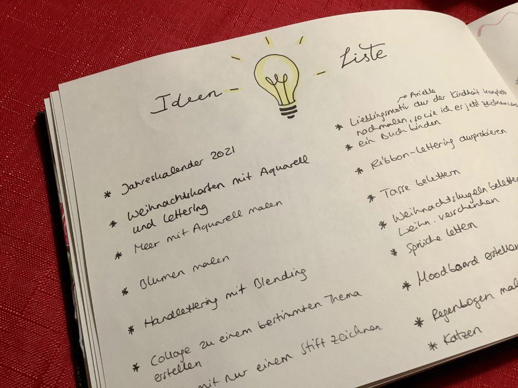 Teil 2 meiner Reise zum kreativeren Ich Ideenliste