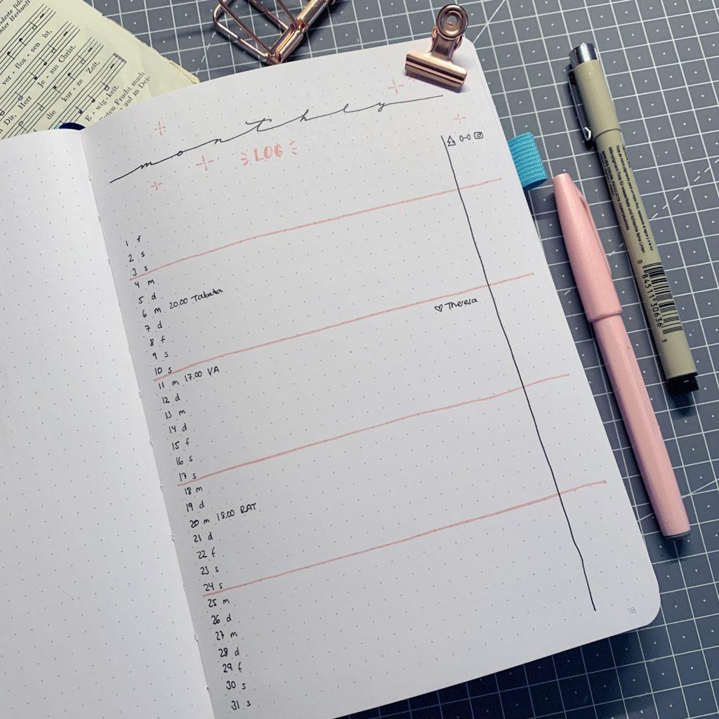 Januar Bullet Journal Setup 2021 monthly log