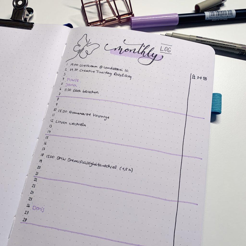 februar bullet journal setup 2021 monthly log