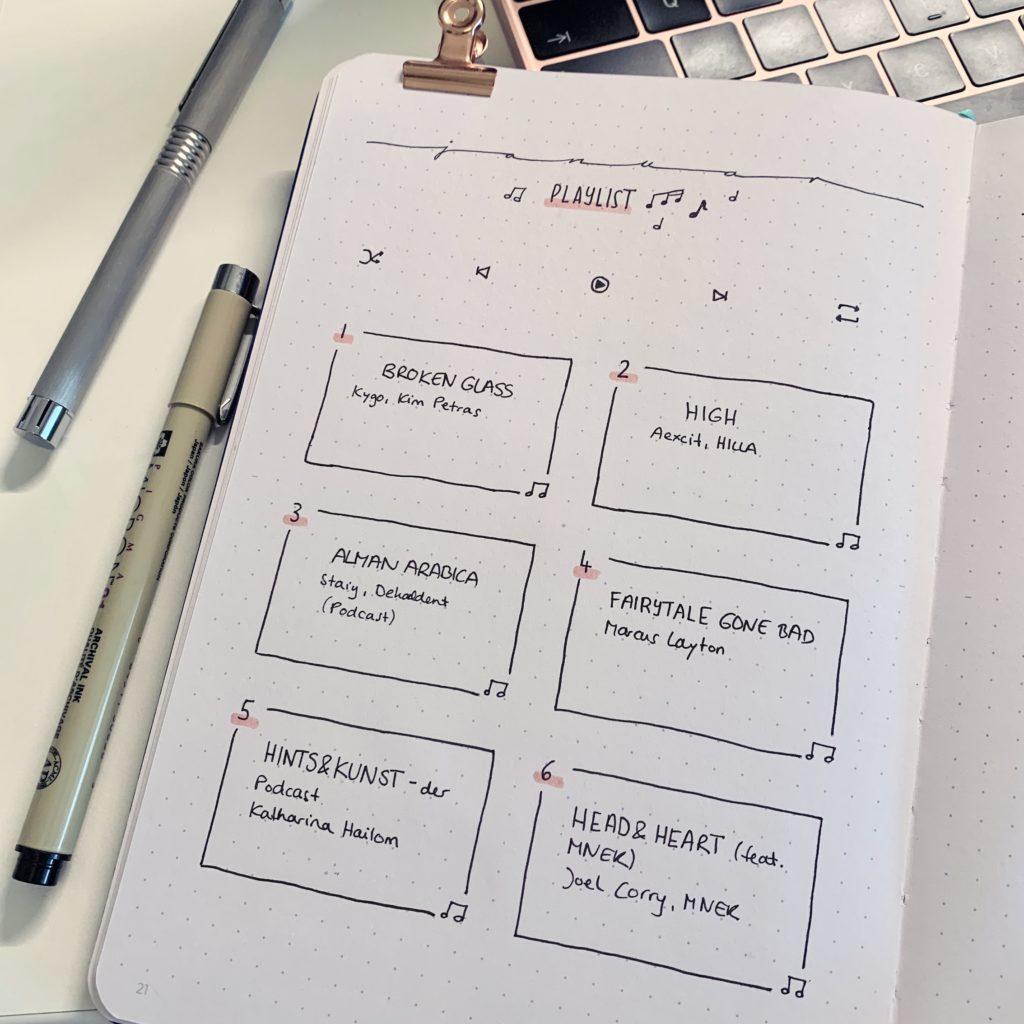 februar bullet journal setup 2021 playlist januar