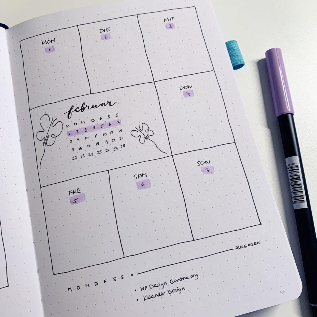 Februar Bullet Journal Setup 2021 Weekly log