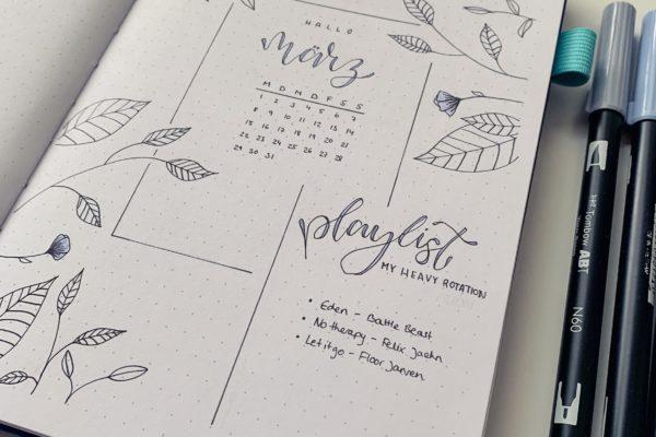 März Bullet Journal Setup 2021