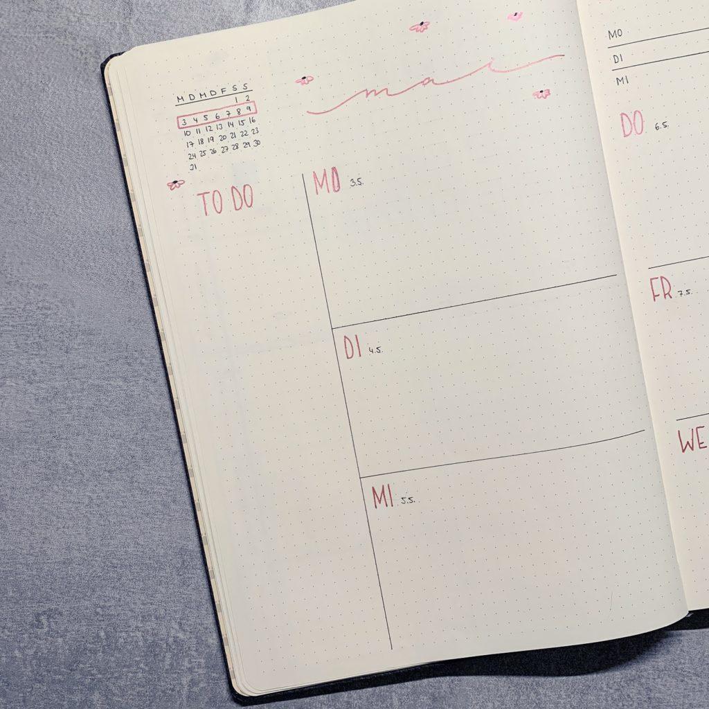 Mai Bullet Journal Setup 2021 Weekly Log links