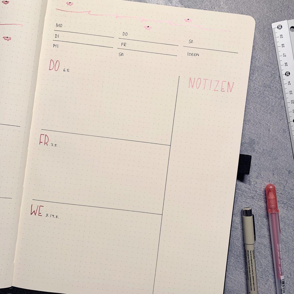 Mai Bullet Journal Setup 2021 Weekly Log rechts